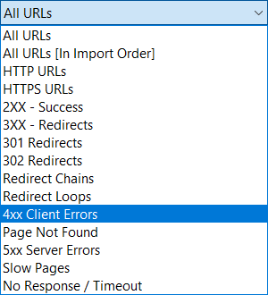 Filter URL results from the XML sitemap check.